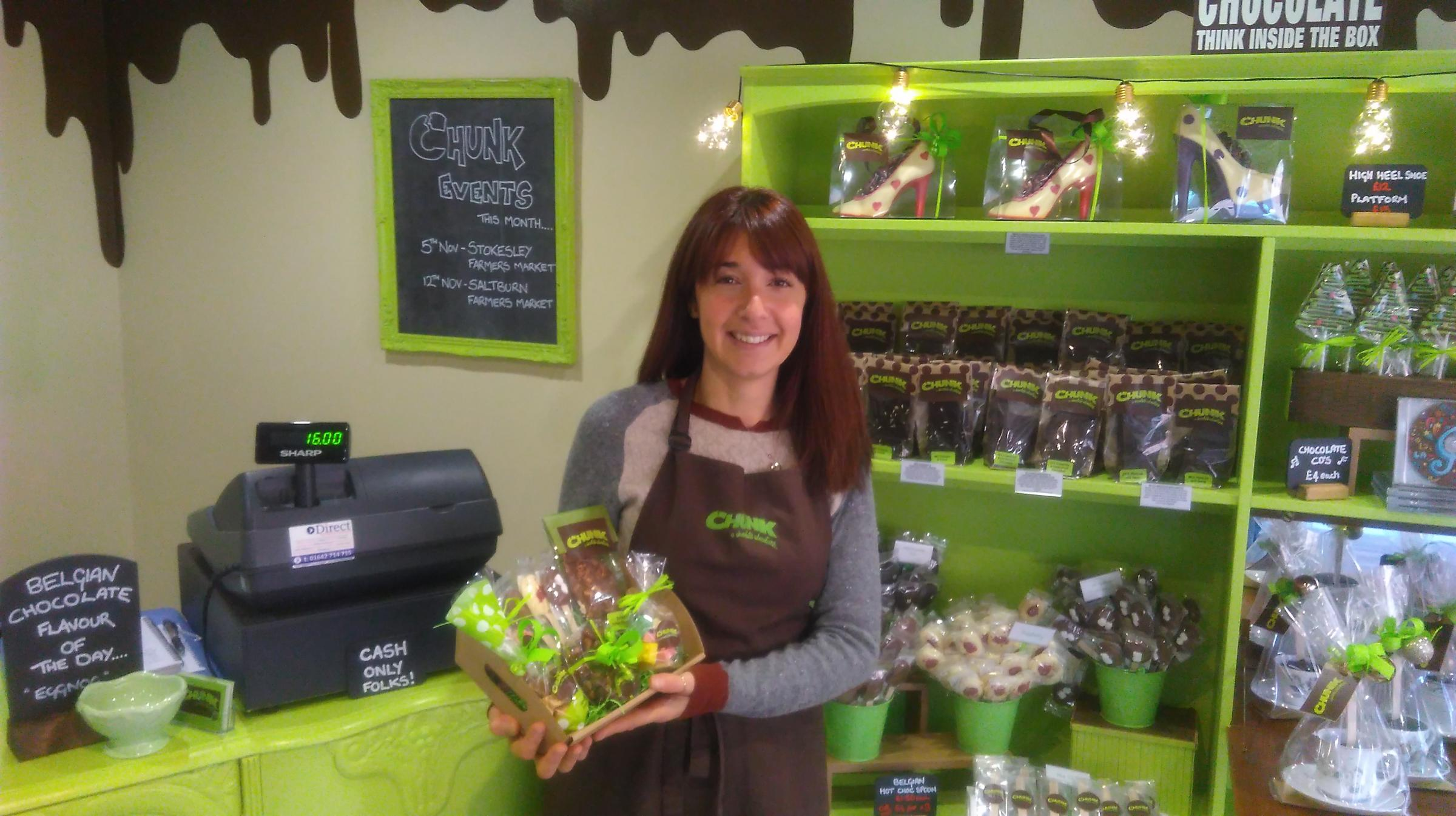 SWEET CAREER: Natalie Collins in her recently opened Chunk Chocolates shop in Stokesley