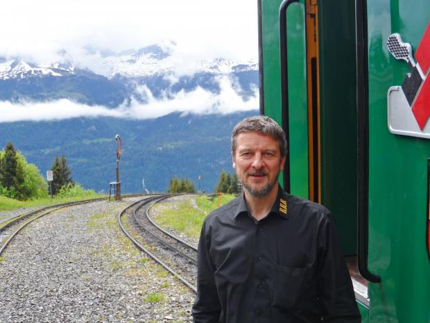 The Northern Echo: Mike Ellis pictured at the Planalp halt. Picture: ANDREW DOUGLAS