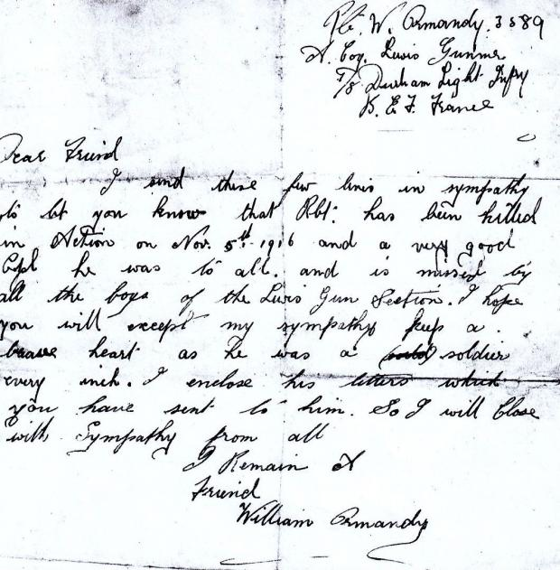 The Northern Echo: TERRIBLE NEWS: How a private in the Durham Light Infantry wrote to Mary Pitt telling her that Robert had been killed on November 5, 1916, at the Butte de Warlencourt