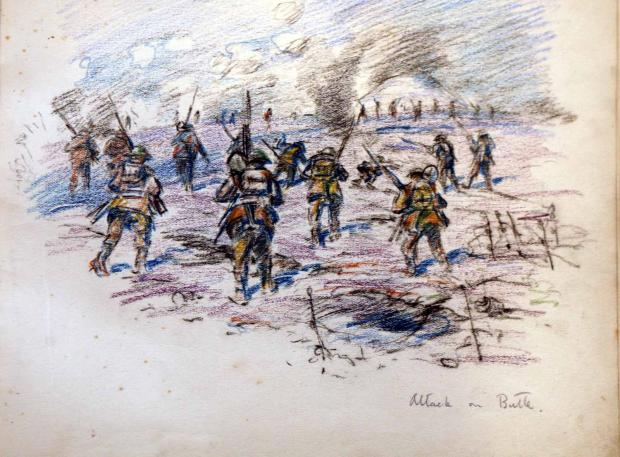 The Northern Echo: OVER THE TOP: A sketch by Capt Robert Mauchley, of the DLI, showing the attack on the Butte de Warlencourt on November 5, 1916