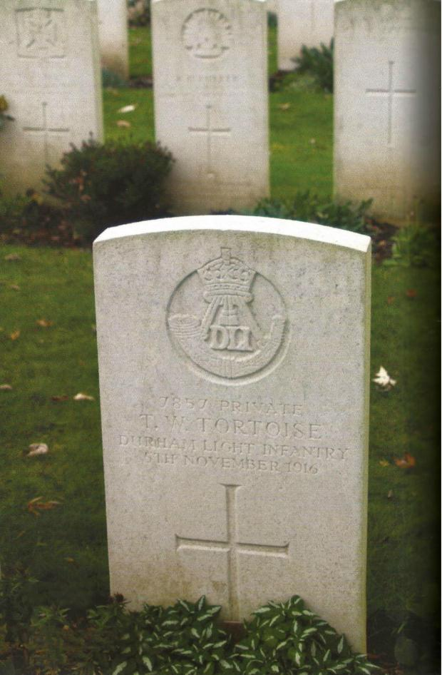 The Northern Echo: UNUSUAL NAME: Pte Tommy Tortoise's headstone in Warlencourt Cemetery. The member of the DLI died 100 years ago today. Picture: Bill Lawrence