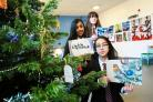 CARD: Hummersknott Academy Christmas card winners pictured Eva Tang 15, Dhiya Siddiqui 11 and Sam Horn 14 Picture: SARAH CALDECOTT