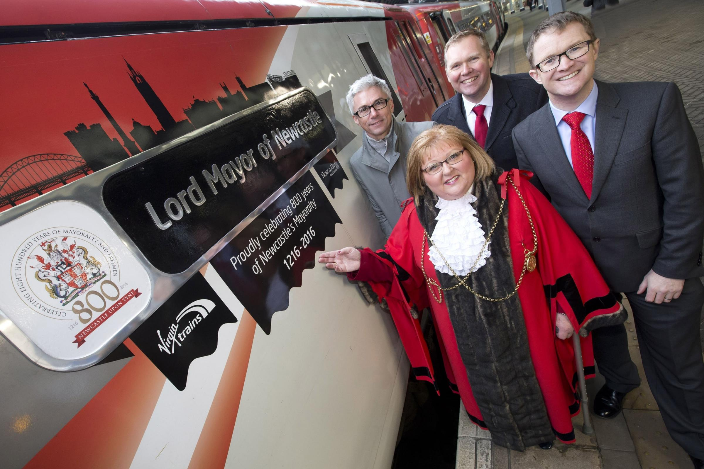 CEREMONY: Jonathan Edwards, Cllr Hazel Stephenson (the Lord Mayor of Newcastle), Cllr Nick Forbes (Leader of Newcastle City Council), David Horne, Managing Director of Virgin Trains on its east coast route.