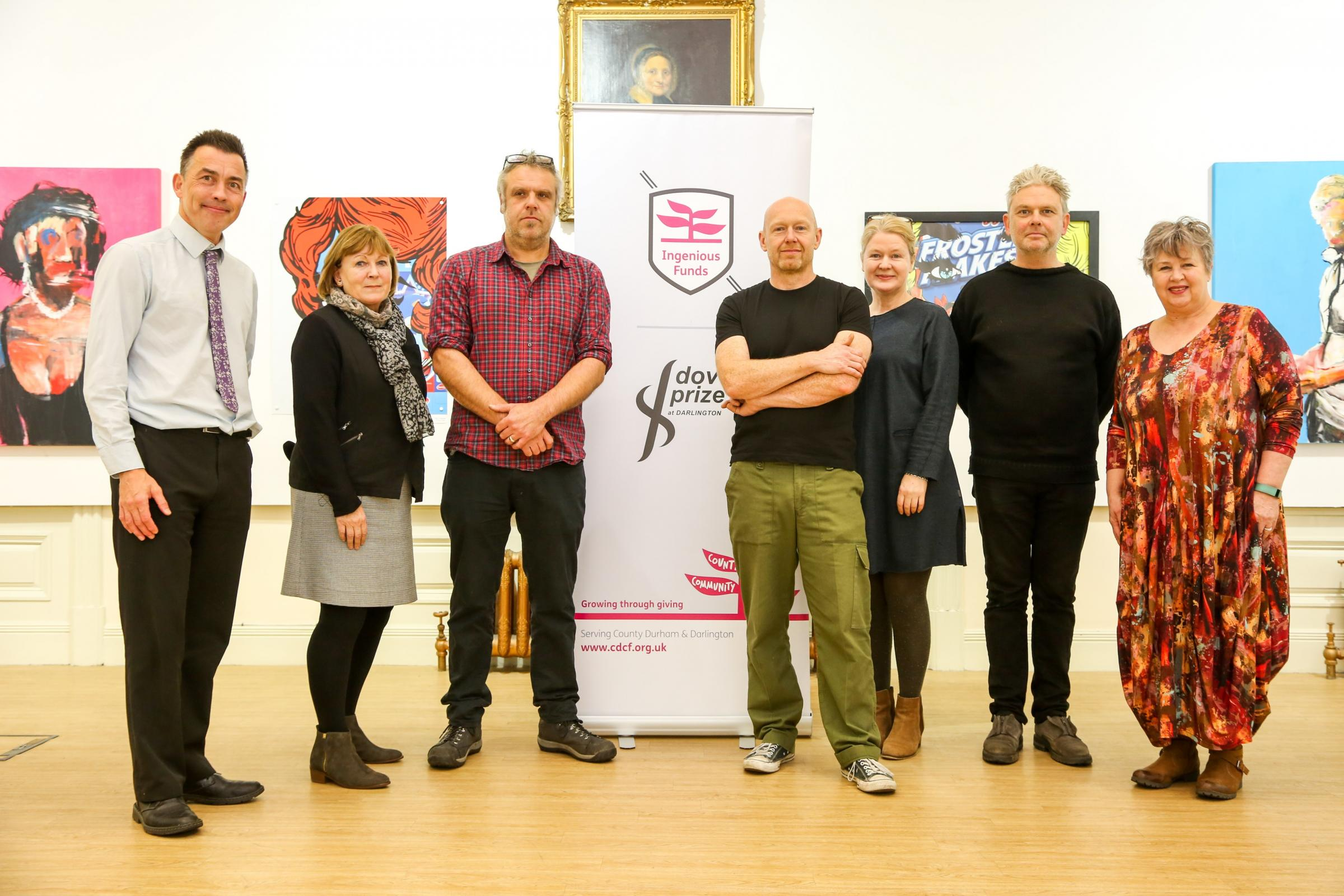 London-based artists Shaun Doyle and Mally Mallinson have been awarded County Durham Community Foundation's Dover Prize 2016. Pictured are Stephen Wiper, Lesley Taylor, Mally Mallinson, Shaun Doyle, Jane Tarr, Greville Worthington and Barbara Guvvins. P