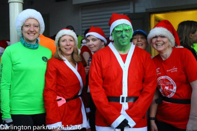 Some of our festively dressed runners at the Christmas Eve parkrun