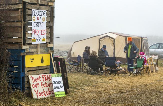 PROTEST: The Kirby Misperton Protection Camp, which is set to become the national focus for anti-fracking campaigners