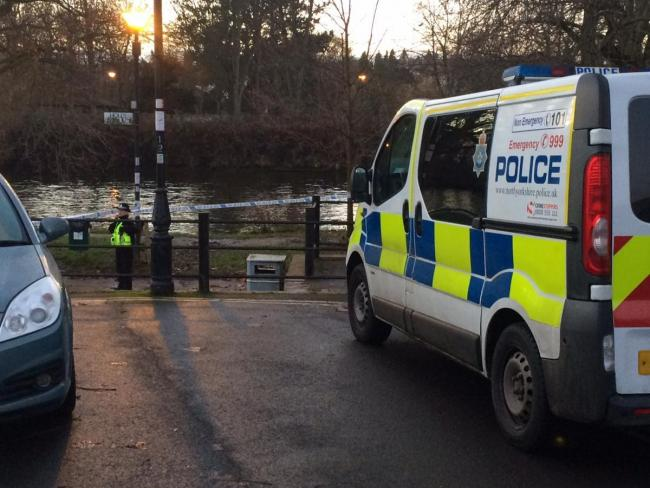 The footpath beside the River Ouse has been cordoned off by police between Alma Terrace and the Millennium Bridge, in York Picture: Dan Bean
