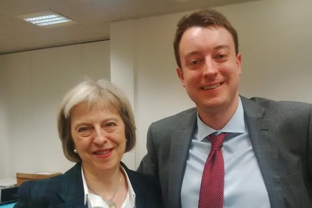 Simon Clarke MP with Theresa May in happier times