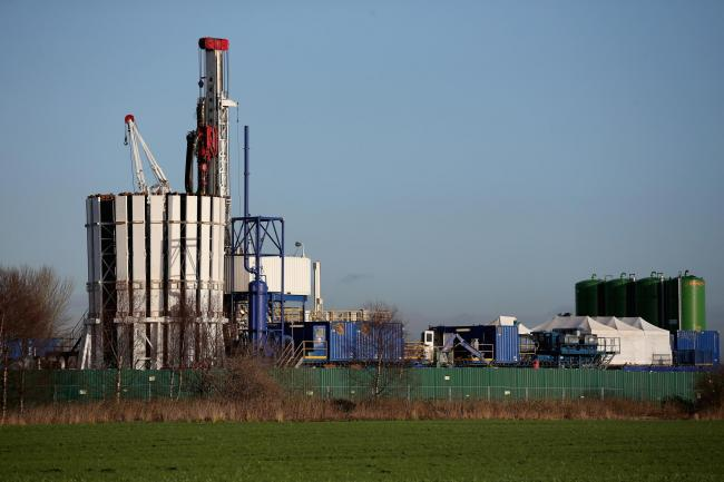 A general view of a fracking exploration facility in Barton, England.