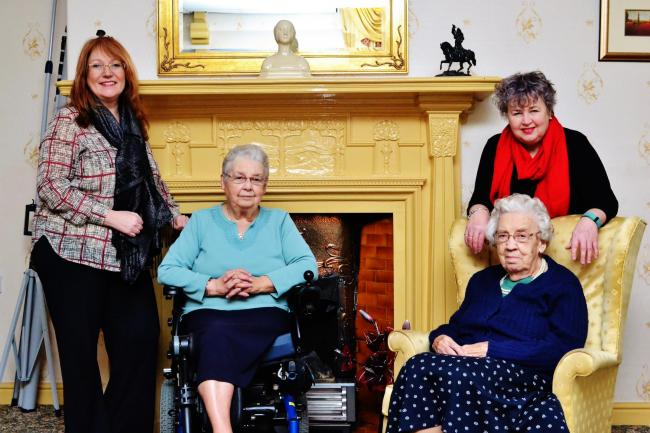 PARTNERSHIP: Pauline Bishop, chief executive of the Sherburn House Charity, and Barbara Gubbins, chief executive of County Durham Community Foundation, with two residents from Sherburn House