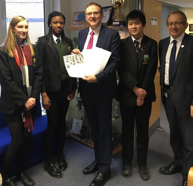 CAMPAIGN: Melissa Foster, Christina Davis, Phil Wilson MP, Aidan Wong and executive headteacher David Priestley