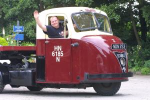SNUB-NOSED: A surviving British Railways Scammell Scarab, pictured in 2001 at the North Yorkshire Moors Railway at Pickering, with Chris Manning, of Scarborough, at the wheel