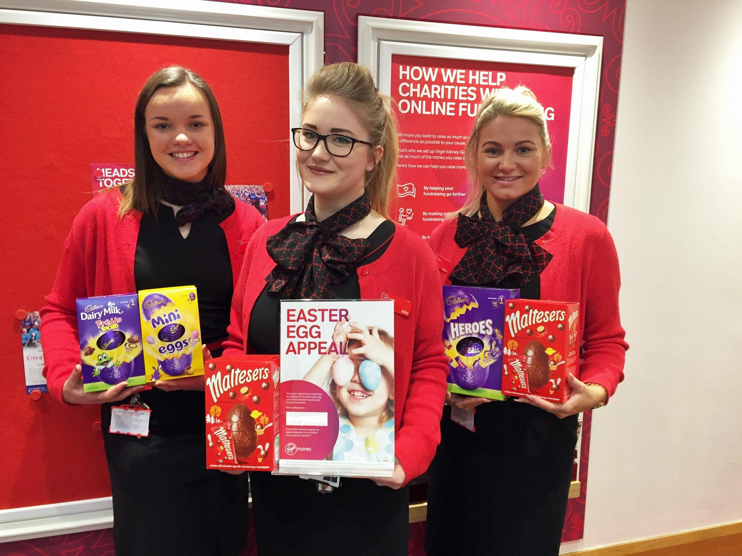 EASTER: Virgin Money Store colleagues with some of the donated Easter Eggs from this year's local charity collection