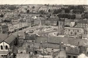 Richmond Market Place from the castle in August 1974, with the 1771 obelisk that was erected over a 12,000 gallon reservoir. See the article for more details.