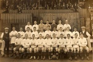 NEW SEASON: Alf Common, second from the left of the front row, in the Preston North End squad for 1913-14, his last season. They are pictured in front of a wooden stand at Deepdale.