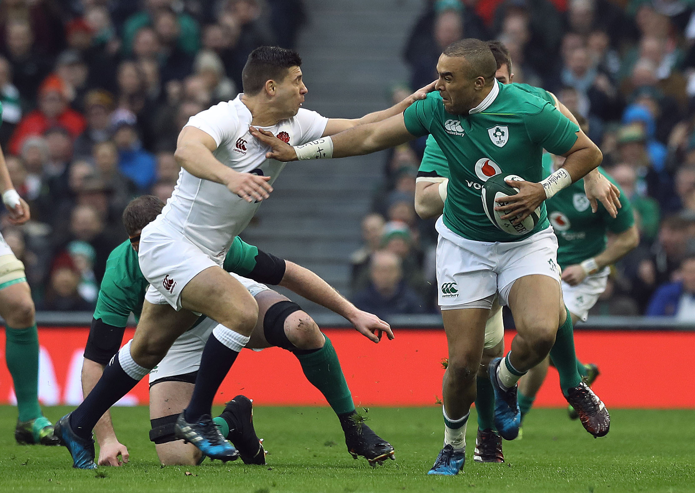 England's Ben Youngs tackles Ireland's Simon Zebo at the Aviva Stadium, Dublin. PRESS ASSOCIATION Photo. Picture date: Saturday March 18, 2017. See PA story RUGBYU Ireland. Photo credit should read: PA Wire. RESTRICTIONS APPLY: Editorial use only.