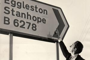 Es NO GOOD: Eggleston village spells its name without a final e, as this corrected sign in 1971 shows. Egglestone Abbey, though, has a final e