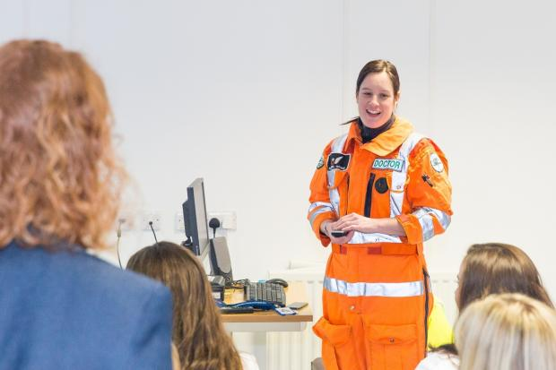 The Northern Echo: GNAAS Dr Rachel Hawes speaking about Blood on Board on its first anniversary. Picture: ALAN MOUNTAIN