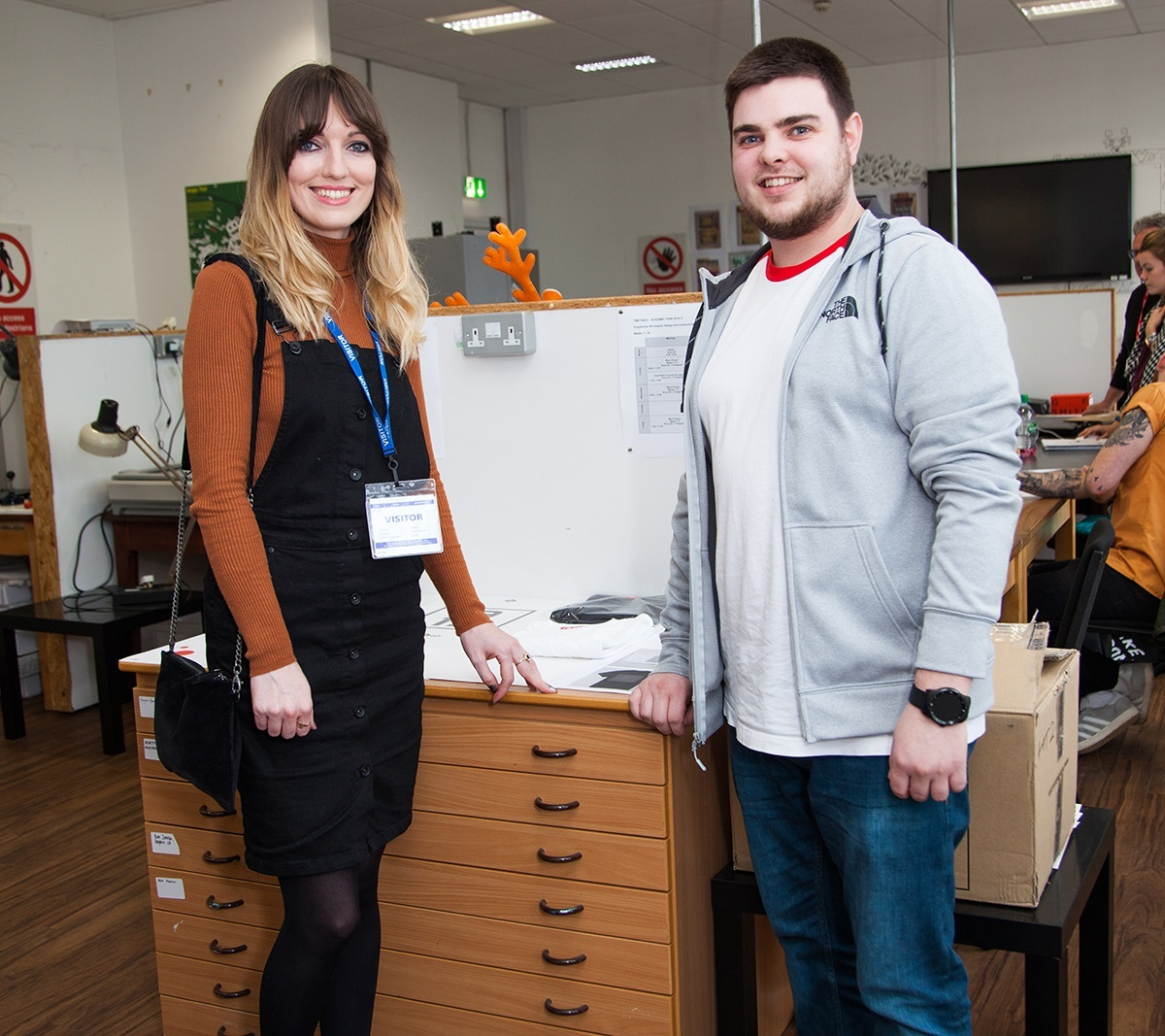 FASHION: Angela Keeler, left, a graphic designer from clothing company Superdry, with Cleveland College of Art and Design student David Harker