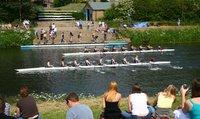 Hatfield College rowing eight leads University College at St Cuthbert's launching stage