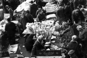 ON THE MONEY: Darlington's Easter Monday market in 1964. Taken from the top of the Covered Market steps looking down on the stalls