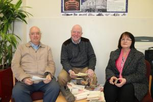 FAMILY TREASURES: Peter, Graham and Bernadette Di Duca examine the items dating from the 1920s that relate to their Italian ice cream family that were found recently at Darlington Hippodrome
