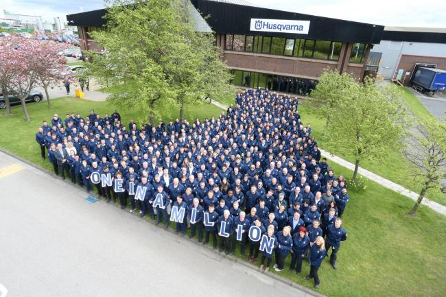 SUCCESS: Staff mark the production of Husqvarna's one millionth robotic lawnmower outside their factory on Aycliffe Business Park