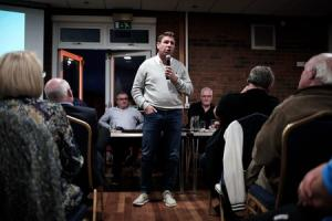 Manager Martin Gray talks to fans while directors Richard Cook and John Tempest listen at a packed out Darlington fans' forum at Blackwell Meadows. Picture by Stuart Boulton..