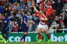 GOAL TIME: Middlesbrough's Rudy Gestede scored his only goal for Boro against Manchester United