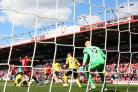 OPENING THE FLOODGATES: Josh King scores Bournemouth's first goal in their 4-0 thrashing of Middlesbrough (Pictures: Steven Paston/PA Wire)