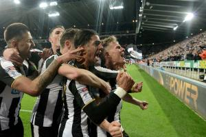 ARREST: Newcastle players celebrate on Monday night, but today an arrest was made at the club in an operation by HMRC