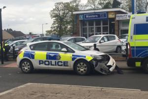 CRASH: A police car and another vehicle have collided at Four Lane Ends, in Middlestone Moor. Picture: CATHERINE PRIESTLEY