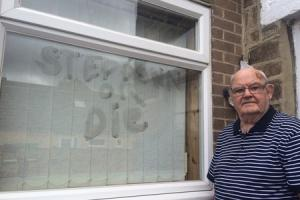 SHOCK: Spennymoor Town Councillor John Marr woke to discover this threat on his kitchen window