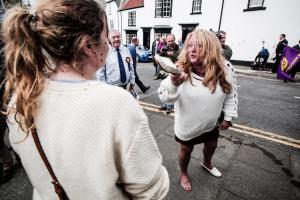 A resident clashes with activists in Hartlepool during UKIP campaign. Picture: STUART BOULTON