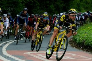 SPEED: The peloton comes down into West Tanfield. Picture MATT WESTCOTT