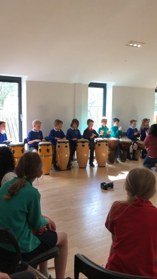 WORKSHOP: Pupils enjoy a musical workshop ahead of the Harambee Pasadia Festival later this month
