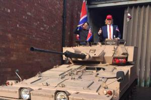 DRESSED: Paul Harbord as Kim Jong-un and Dale Laverick as Donald Trump in the Scimitar which arrived at the Peterlee Catholic Club Picture: Kayleigh Laverick
