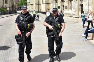 SECURITY: Armed police patrols patrol outside York Minster today. Picture: Frank Dwyer