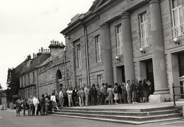 The Northern Echo: GREAT FASCINATION: A large queue forms outside Durham Crown Court on September 11, 1984, to see triple murderer Arthur Hutchinson sentenced. Hutchinson, who was born in Hartlepool, had killed three members of the Laitner family near Sheffield, and raped a