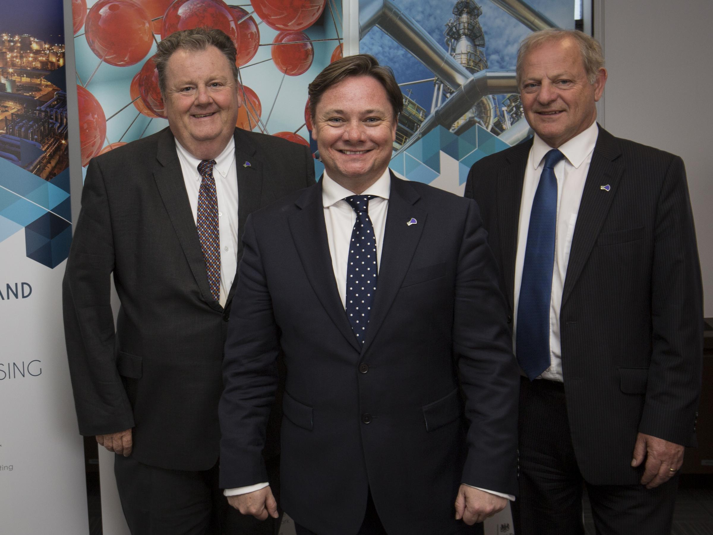 WELCOME: Dr Stan Higgins, left, with newly-appointed chief executive Iain Wright and Nepic chairman Ian Swales