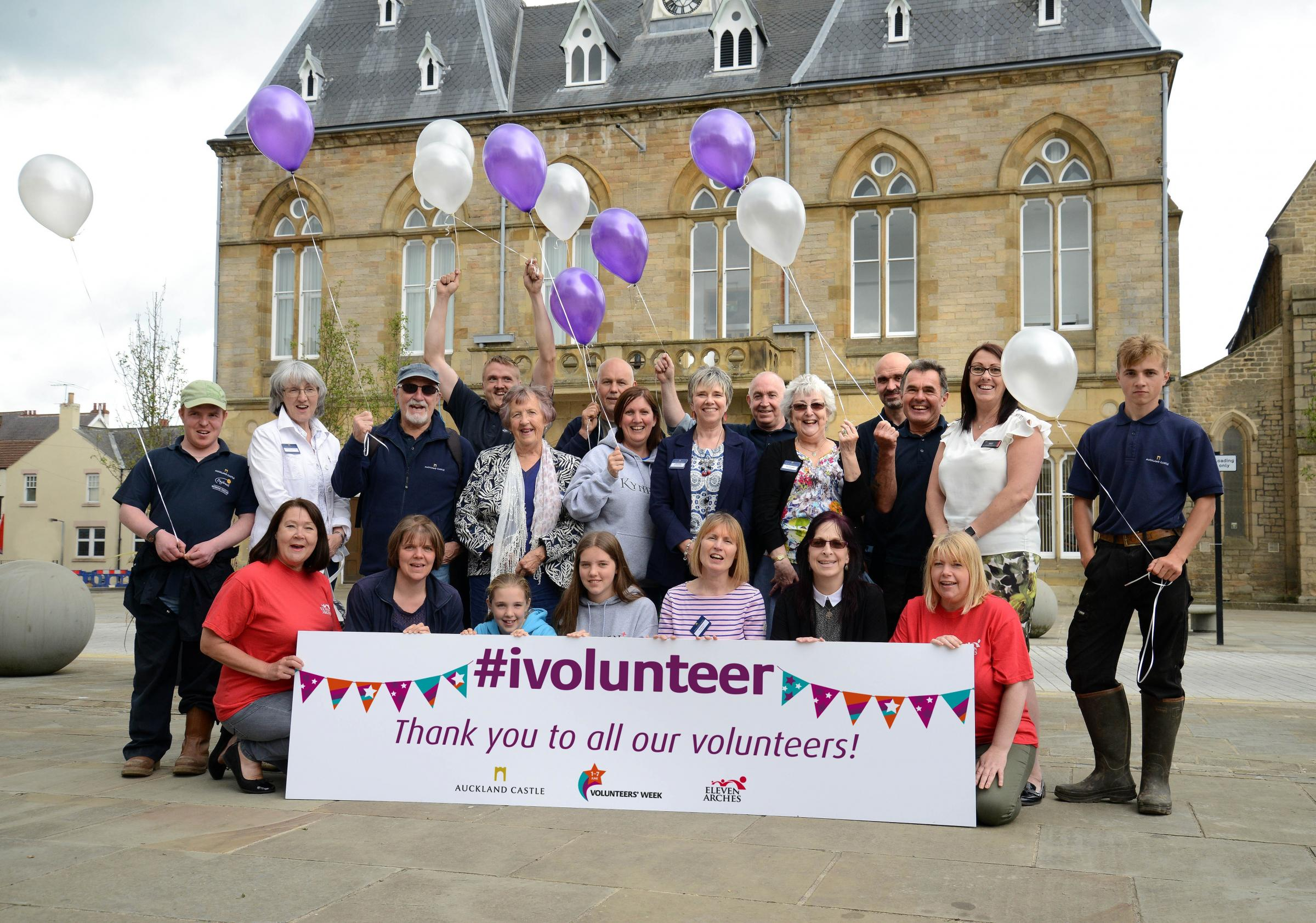 GENEROUS: Volunteers from Auckland Castle Trust and Eleven Arches mark Volunteers' Week in Bishop Auckland Market Place Picture: BARRY PELLS/AUCKLAND CASTLE TRUST