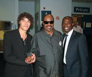 The Northern Echo: FAMOUS BACKING: From left, Shaun Campbell, Stevie Wonder and George Boateng