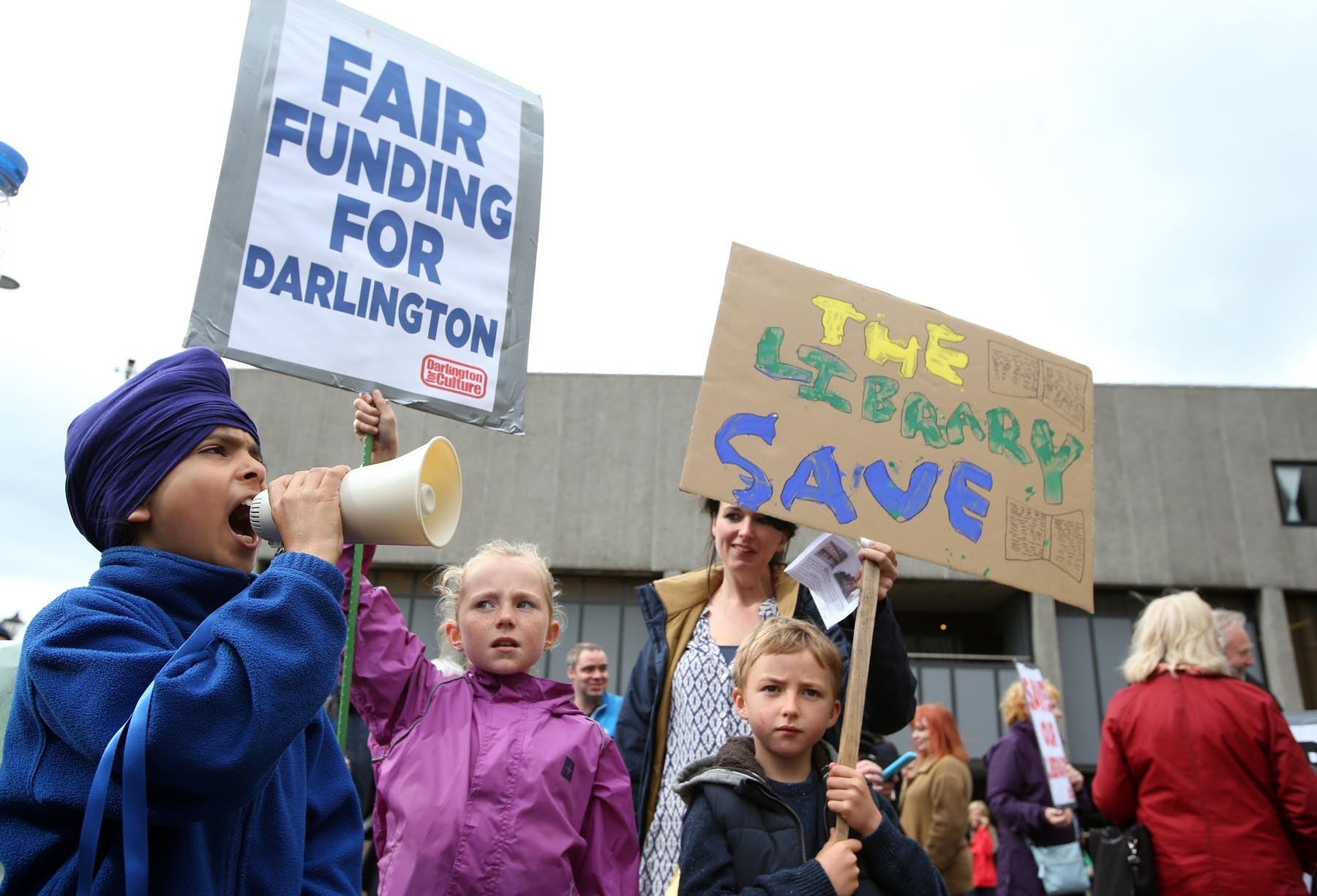 FIGHT: Save Crown Street Library protestors outside Darlington Town Hall prior to a meeting inside the town hall to decide on the future of the library in March this year Picture: CHRIS BOOTH.
