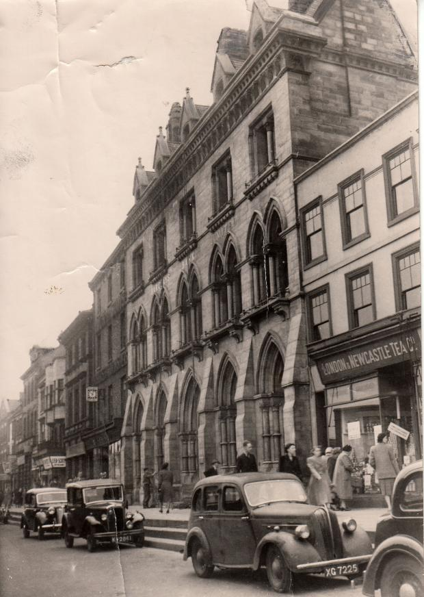 The Northern Echo: WATERHOUSIAN WONDER: The oldest picture in the packet is dated 1949 and shows cars parked outside the original Backhouses Bank, designed in the early 1860s by architect Alfred Waterhouse, on High Row. Bonus marks for anyone who can email the identity of t