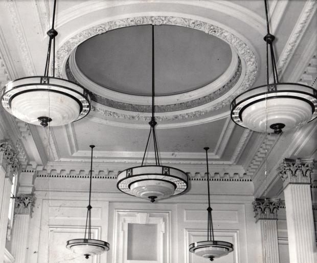 The Northern Echo: SERIOUS CEILING: The art deco interior of the Midland Bank, now the HSBC in Prospect Place, which was completed in 1926 and here photographed in 1961