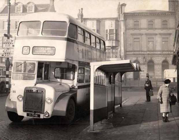 "The Northern Echo: MARVELLOUS MISFILE: The caption attached to this picture says ""the bus shelters in Tubwell Row which have been damaged by vandals, 23/01/64"". It is filed under banks, though, because of the attractive view of the National Provincial on High Row"