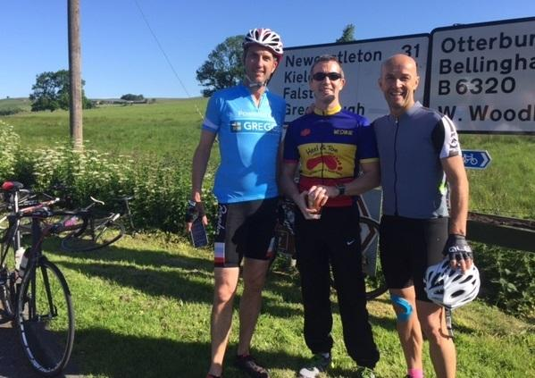 PROUD  Peter Bartley (centre) with teammates on the Durham to Edinburgh  challenge 2773f6c38