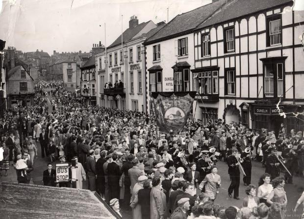 The Northern Echo: HOTEL STRIP: The 1957 gala heads up Old Elvet. The balcony at the Royal County Hotel – formerly the Dunelm Hotel – is still the focal point of the parade, but the Waterloo Hotel – formerly the Green Dragon Inn – in the distance has now been demoli