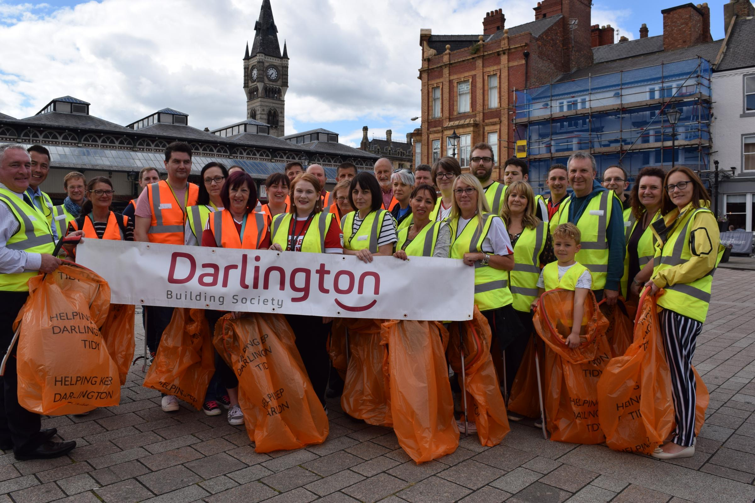 REWARD: Pick, Pie & Pint participants from across Darlington gearing up to start the litter-picking challenge