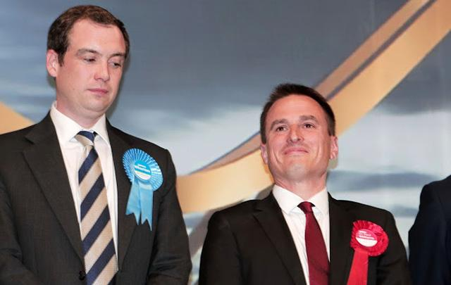 Labour MP Dr Paul Williams, right, after winning the Stockton South seat